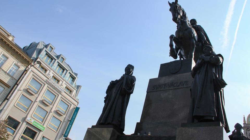 Памятник святому Вацлаву на пражской Вацлавской площади  (установлен в 1912 году) скульптора Йозефа Вацлава Мысльбека,  фото: Барбора Немцова