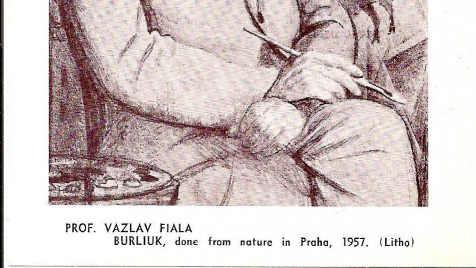 Вацлав Фиала,  портрет Давида Бурлюка в Праге,  1957 г.