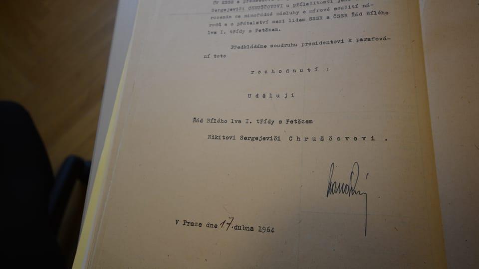 Запись в метрической книге о награждении Никиты Сергеевича Хрущева,  фото: Эва Туречкова