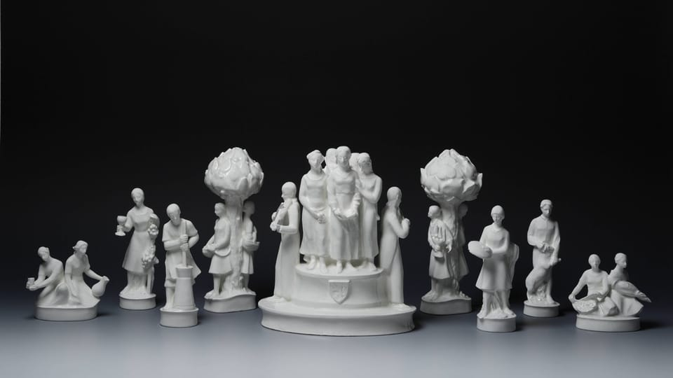 Набор фарфоровых статуэток для сервировки был изготовлен в 20-30 годы прошлого века,  фото: © Администрация Пражского Града,  Ян Глоц