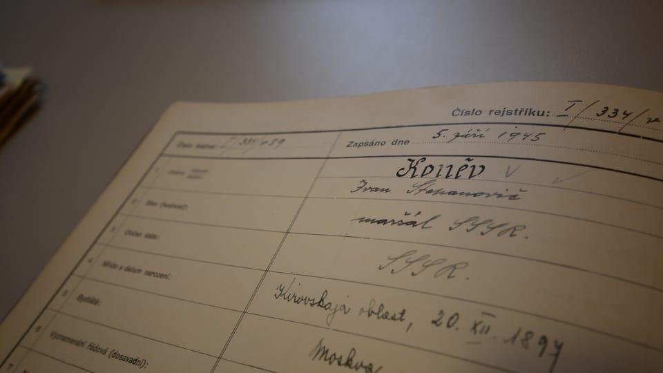 Запись в метрической книге о награждении маршала Ивана Степановича Конева,  фото: Эва Туречкова