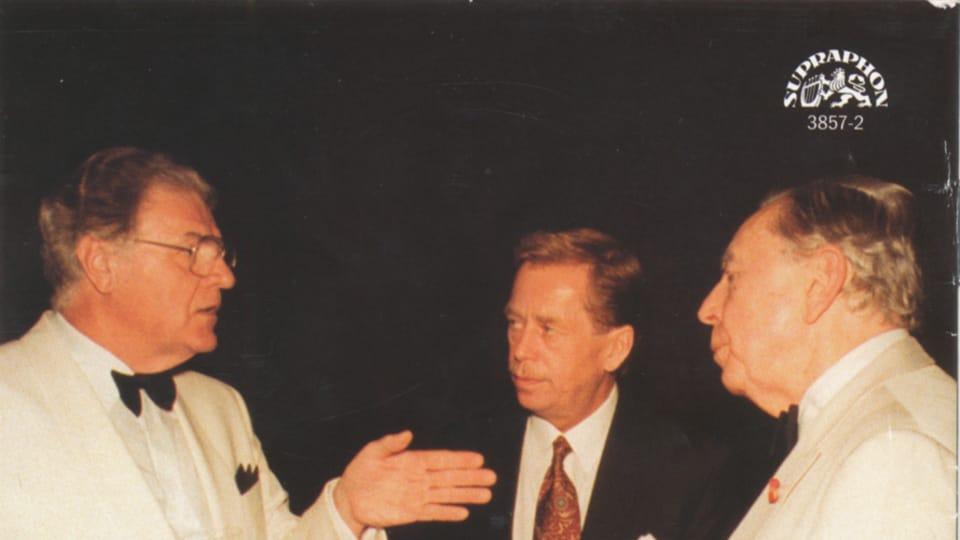 Йозеф Сук и Рудольф Фиркушны с президентом Гавелом перед концертом,  фото: Supraphon