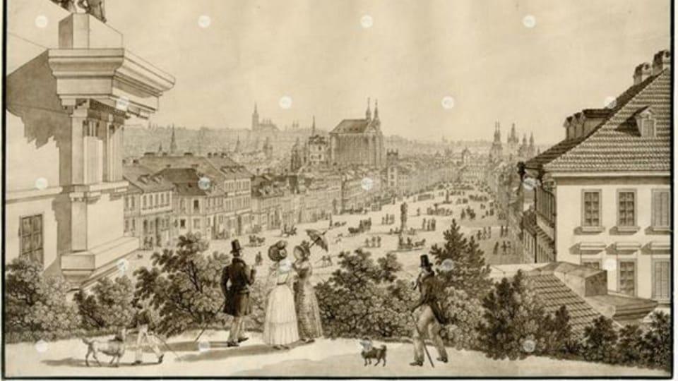 Вацлавская площадь в 1835 году,  фото: Архив Музея города Праги